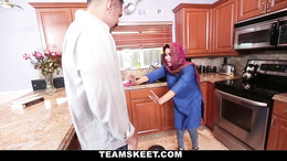 Shy Arab teen gets fucked by a horny white guy in the kitchen