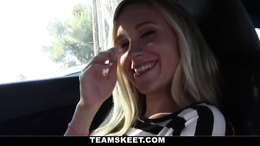 Balls sucking blonde gets a mouth full of cock and balls while mouring