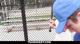 Big boobs slut enjoys playing baseball and getting her tits fondled