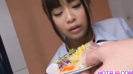 Kinky slave Chika Ishihara leaves her food to eat a big hard dick