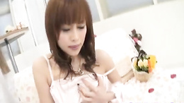 Sensual solo masturbation action on the sofa from Miina Yoshihara