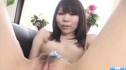 Hairy Airi Sasaki gets her pussy shaved and ass filled with cookies