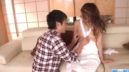 Well shaved moist Asian cunt Nana Ninomiya bends over for hot sex