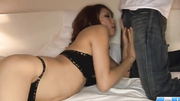 Sexy mature Aya Sakuraba takes a hard doggy style fuck on her heels