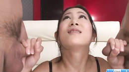 Two Asian guys get the cock sucked by Kyoka Sono in hotel room