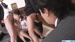 Nonoka Kaede sucks and licks two small but hard dicks in threesome