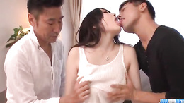 Hot Rie Tachikawa with huge tits gets pleased by two big cocks