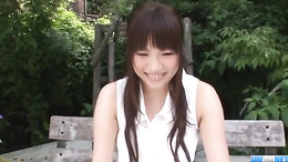 Sensual pussy fingering in the park starring young Yuri Sato