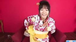 Stunning geisha Chiharu's hairy pussy fingered and fucked hard
