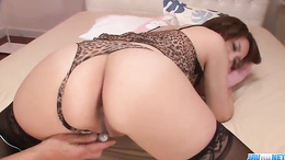 Yurika Momo bends over to have her twat toyed the doggy-style