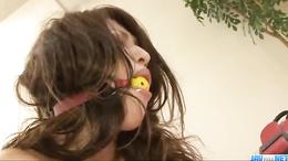 Gagged and handcuffed slut Ayaka Mizuhara takes a hard pounding