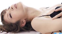 Stunning Yuria loos smoking hot in black lingerie as she masturbates