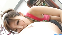Japanese tease Mahiru Tsubaki gives a steaming hot POV blowjob