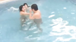 Horny Sayuri Marui and friend suck and fuck a fat nerd poolside