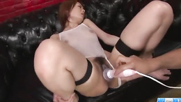 Wild pussy Rei loves to try new sex toys and wild group shagging