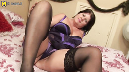 BBW granny sucks a dildo before fucking her fat pussy with it
