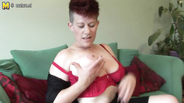 Kinky MILF with big busty figure pleasures herself very well