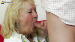 Chubby granny sucks a young dick and gets pounded hard doggystyle