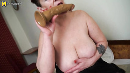Huge dildo is a very good server of orgasms for mature BBW chick