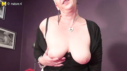 Short haired blonde mature is not ashamed to bring herself orgasms