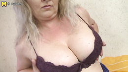 Very busty blonde milf enjoys getting her fingering and dildoing