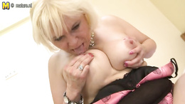busty granny works hard to provide excellent views of her wet pussy