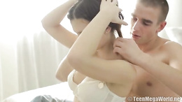 Lovely teen in sexy white lingerie gives her precious body to her man