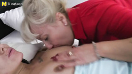 Older lesbian couple of sexy MILFs are too horny to wait any longer