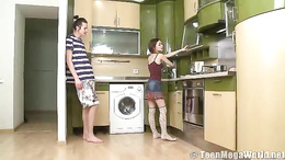 Hot teen gets down on her knees in the kitchen to blow her boyfriend