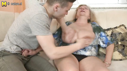 Chubby granny gets her twat fingered and fucked after a good head