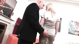 Young blonde babe picked up and she sucks a bald guy's dick sensually