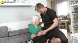 Rich blonde MILF paid a younger dude to fuck her old pussy like crazy