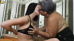 Sick and hot lesbian video features young and old equally horny duo