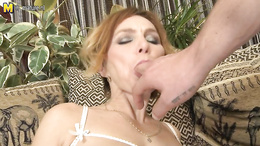 Amazing milf goes down on man's cock after a proper nudity show