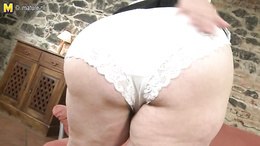 Huge mature bitch has no problem showing off her huge ass in lingerie