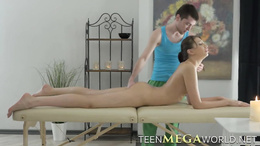 Smooth beautiful girl gets dirty massage and fucks the masseur