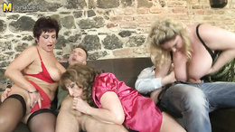 Three fat mature babes get fucked hard by two young dudes on the sofa