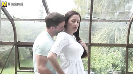 Stunning busty mature gives a hot deepthroat blowjob in the patio