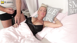 Big titted mature gets woken up for some hardcore fucking action