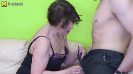 Horny granny found herself a dick and she is now sucking it slowly