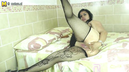 Sex craving brunette milf in stockings masturbating with sex toys good