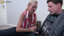 Cougar gives a young stud blowjob and facesitting then takes it doggy