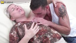 Fat blonde milf enjoys sucking a young throbbing gigantic shaft