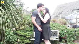 Young stud gets blown and fucks a chubby mature outside in the garden