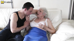 Granny spreads legs for younger lad to ruin her furry mature pussy
