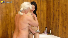 Blonde granny getting her cunt licked and fingered with brunette babe
