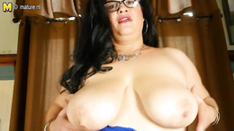 BBW mature with glasses and fishnets fucks her fat pussy with a toy