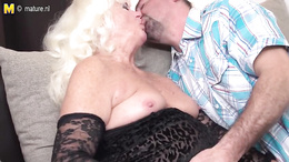 Small titted fat granny gives her younger lover a steamy blowjob