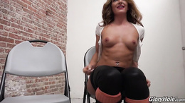 Sexy Savannah Fox blows a BBC and takes it in her ass at the gloryhole