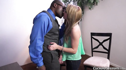 Spoiled blonde teen is punished by a big black guy's hard cock